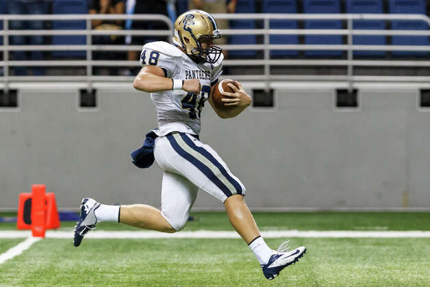 O'Connor's Clay Lansdle goes into the end zone for a 27-yard touchdown reception during the third quarter of their Class 5A Division I state quarterfinal game at the Alamodome on Dec. 8, 2012.  O'Connor beat the Mavericks 52-49.  MARVIN PFEIFFER/ mpfeiffer@express-news.net Photo: MARVIN PFEIFFER, Marvin Pfeiffer/ Express-News / Express-News 2012