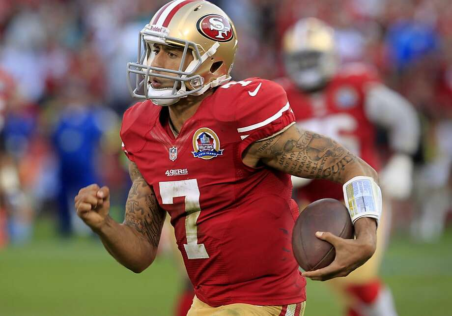 Colin Kaepernick's 50-yard touchdown run on a fourth-quarter read-option sealed his third win in four starts for the 49ers. Photo: Brant Ward, The Chronicle