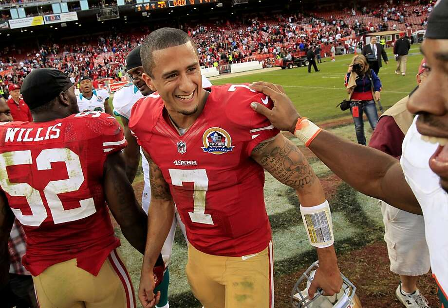 Colin Kaepernick continues to earn praise from Jim Harbaugh - except when it comes to getting off the plays on time. Photo: Brant Ward, The Chronicle