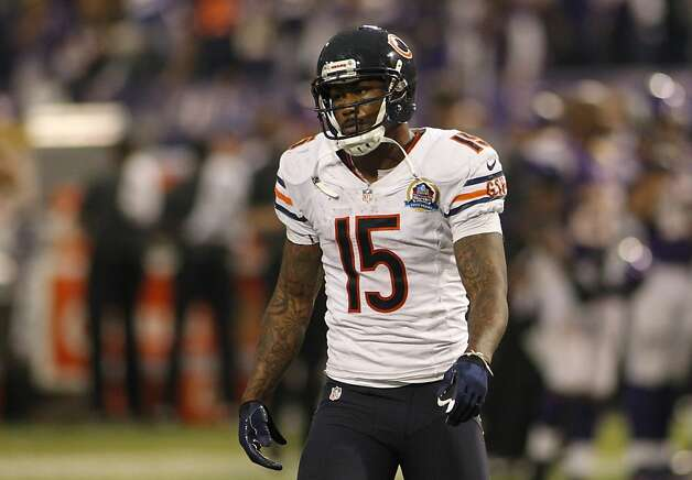 Chicago Bears wide receiver Brandon Marshall during the second half of an NFL football game against the Minnesota Vikings Sunday, Dec. 9, 2012, in Minneapolis. (AP Photo/Andy King) Photo: Andy King, Associated Press