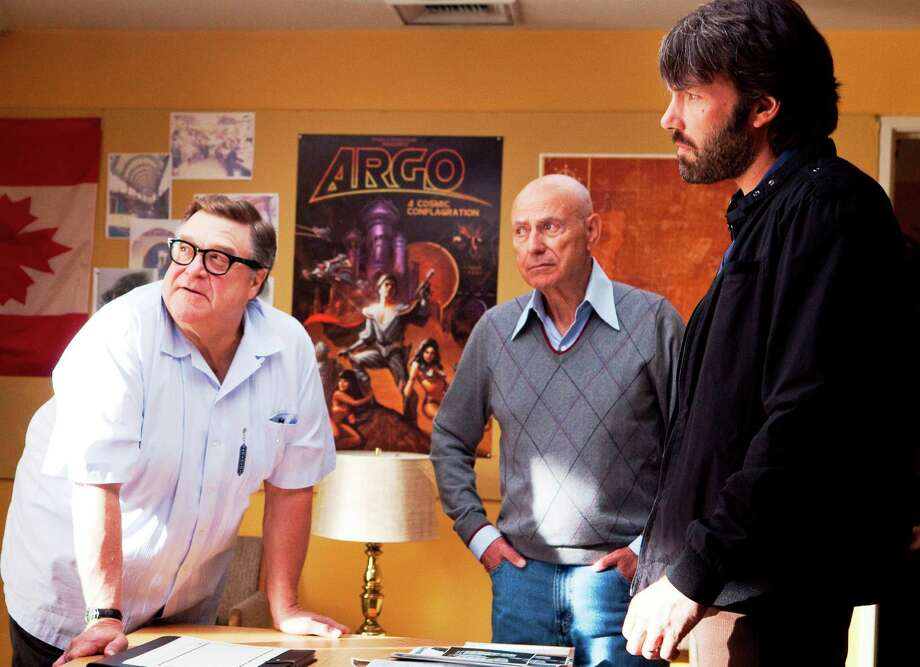 """And don't forget ... Best supporting actor contender, John Goodman in """"Argo"""": Although Alan Arkin is getting most of the attention, his co-star gets the biggest laughs.    Photo: Goodman (from left) as John Chambers, Arkin as Lester Siegel and Ben Affleck as Tony Mendez in a scene from """"Argo."""" Photo: Claire Folger, Warner Bros. / © 2012 Warner Bros. Entertainment Inc."""