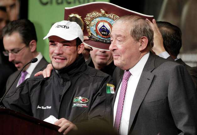 Juan Marquez speaks during a press conference after his 6th round knockout victory over Manny Pacquiao, Saturday, Dec. 8, 2012, at The MGM Grand Garden Arena in Las Vegas. (AP Photo/Eric Jamison) Photo: Eric Jamison