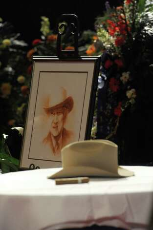 "Former congressman Jack Brook's Stetson hat on display at his ""Celebration of Life"" services at the Montagne Center in Beaumont, Texas, on Sunday, Dec. 9, 2012. The famed congress man died Tuesday night at Baptist Hospital from a sudden illness.  (AP Photo/The Enterprise, Guiseppe Barranco) Photo: Guiseppe Barranco, Associated Press / The Beaumont Enterprise"