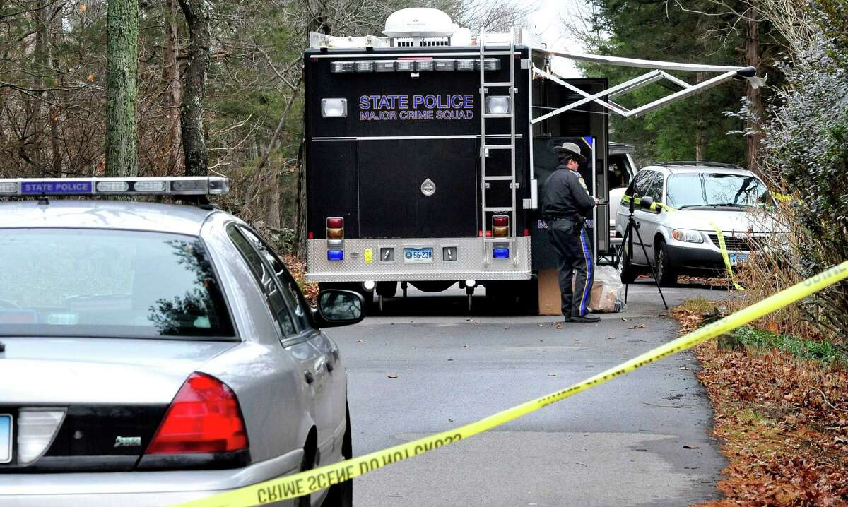 This is the scene outside a house on Hilltop Drive in New Fairfield where Svetlana Bell was shot and killed Saturday night Dec. 8, 2012. Photographed Sunday, Dec. 9, 2012.