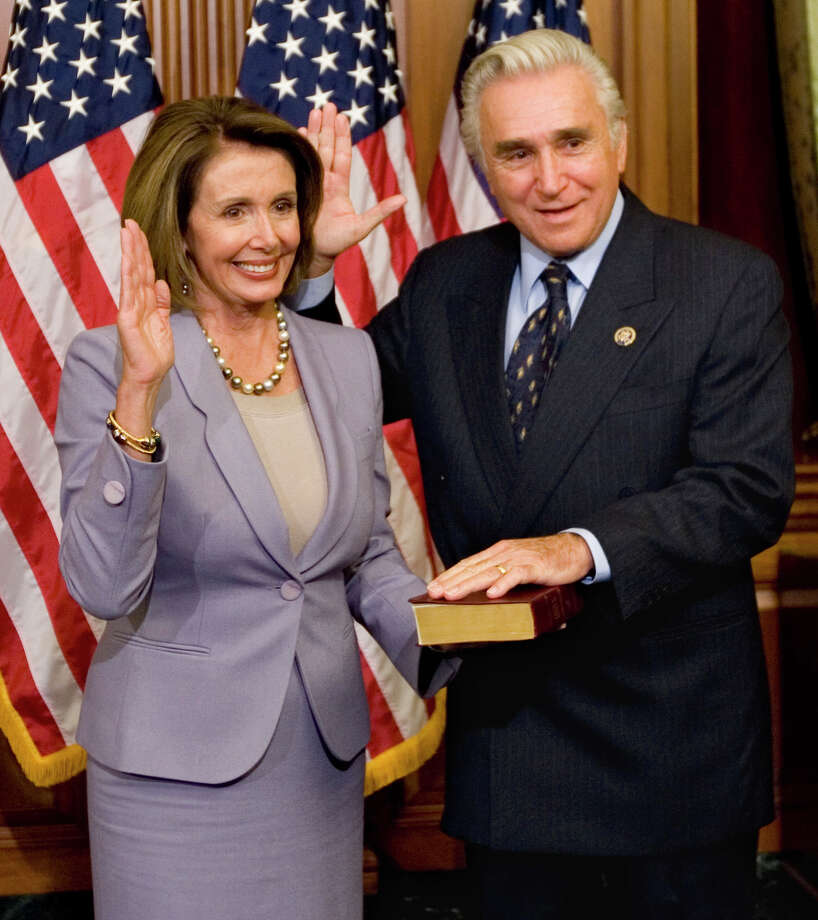 In this Jan. 6, 2009 file photo, House Speaker Nancy Pelosi, D-Calif., left, stands with Rep. Maurice Hinchey, D-N.Y., on Capitol Hill in Washington. Hinchey's office said on Wednesday, Jan. 18, 2012, that the 10-term representative from the Hudson Valley will not seek re-election and make an official retirement announcement on Thursday, Jan. 19  in Kingston, N.Y. (AP Photo/Haraz N. Ghanbari, File) Photo: Haraz N. Ghanbari / AP2009
