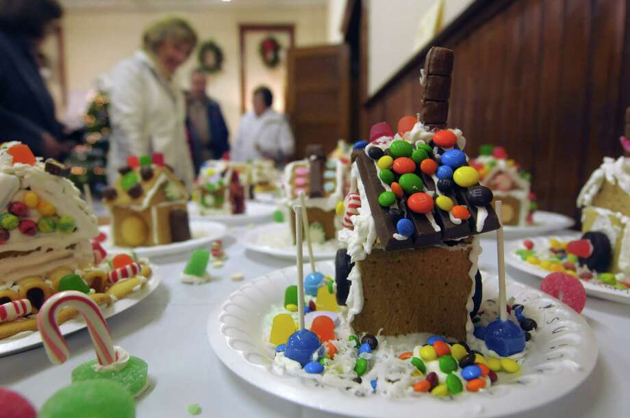 Gingerbread homes made by pre-school children are on display at the  Masonic Hall during the Victorian Holidays Celebration on Sunday, Dec. 9, 2012 in Altamont, NY.  There was also a tour of six area homes decorated for the holiday.  (Paul Buckowski / Times Union) Photo: Paul Buckowski