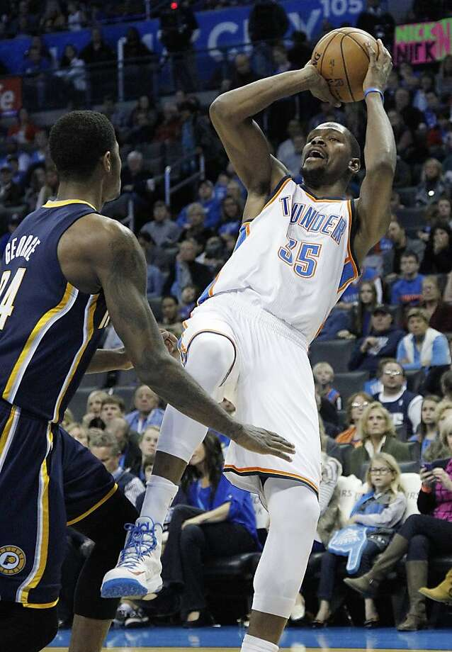 Kevin Durant scored 27 points and the Thunder shut down the Pacers in the second half. Photo: Sue Ogrocki, Associated Press