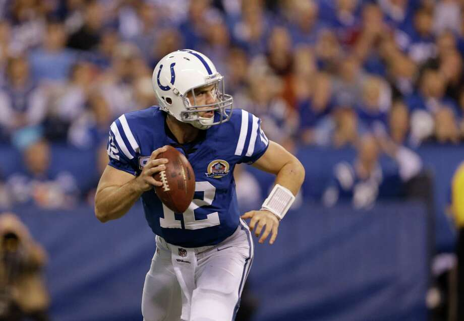Andrew Luck has led an NFL-rookie-record six fourth-quarter comebacks for  9-4 Indy. Photo: Jeff Roberson, STF / AP