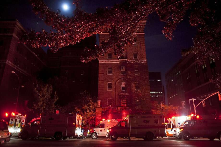 Ambulances sit outside Bellevue Hospital Center in New York waiting to evacuate patients after fuel pumps for the backup generators failed in the aftermath of Superstorm Sandy in October. Photo: Karsten Moran, New York Times