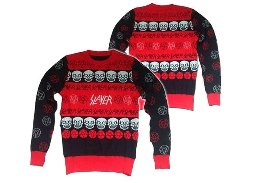 Slayer holiday sweater. We hate to admit it but our grandma never knit anything this cool. (Slayer O