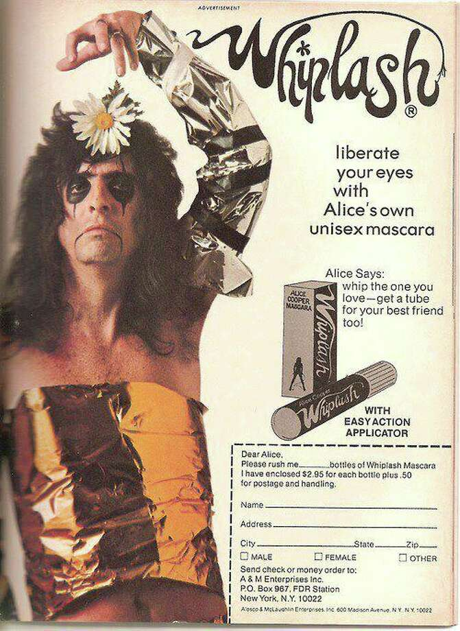 Alice Cooper unisex mascara. Careful, it's easy to overdo it. (Whiplash)