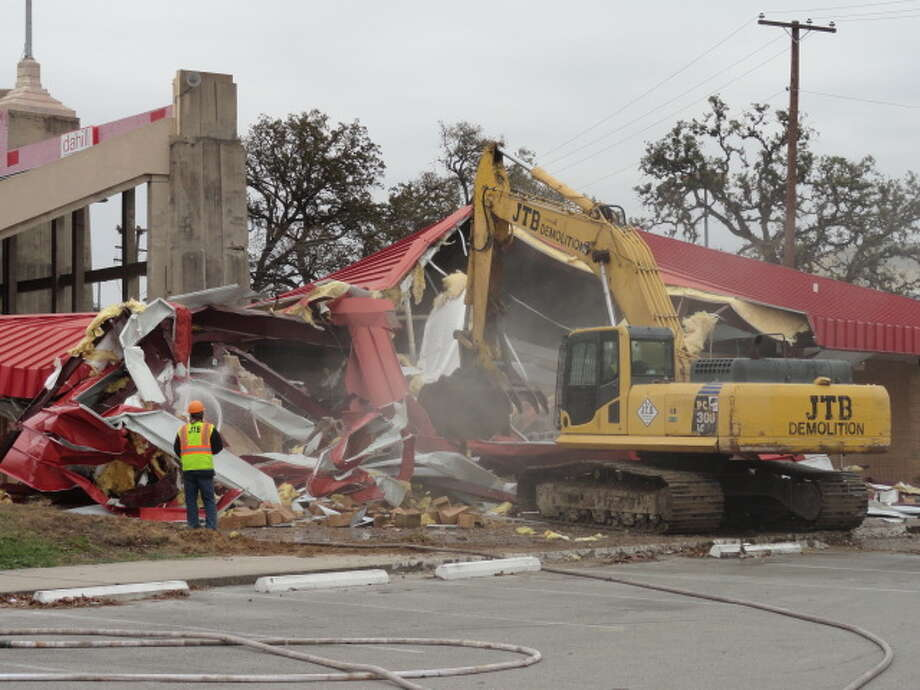 Workers demolished the concession stand area in the southeast corner of Robertson Stadium on Dec. 10. (Joseph Duarte / Chronicle)