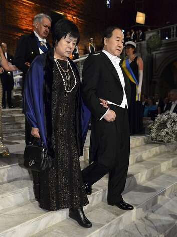 The 2012 Nobel Prize Laureate for Literature Mo Yan, right, and his his wife Du  Qinlan arrive for the Nobel Banquet at the Stockholm City Hall on Monday Dec. 10, 2012. Photo: Claudio Bresciani, Associated Press