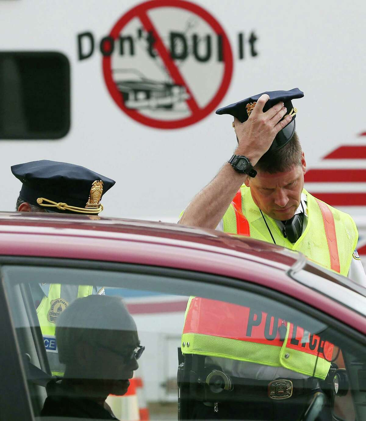 Washington Metropolitan Police conduct a sobriety check point associated with a news conference on drunk driving, in August in Washington, DC.