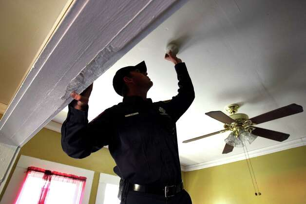 Change the batteries in your smoke detectors! They are your early warning device for a fire in your home. Test smoke alarms monthly and make sure everyone in your home knows the sound it makes. Install and maintain smoke alarms and carbon monoxide detectors according to manufacturer's instructions. Photo: HELEN L. MONTOYA, SAN ANTONIO EXPRESS-NEWS / hmontoya@express-news.net