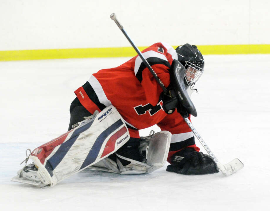 Connor Frawley, pictured during the Fairfield co-op hockey team's 2012 game at Greenwich, will be the team's starter again in 2012-13. Photo: Bob Luckey / Greenwich Time