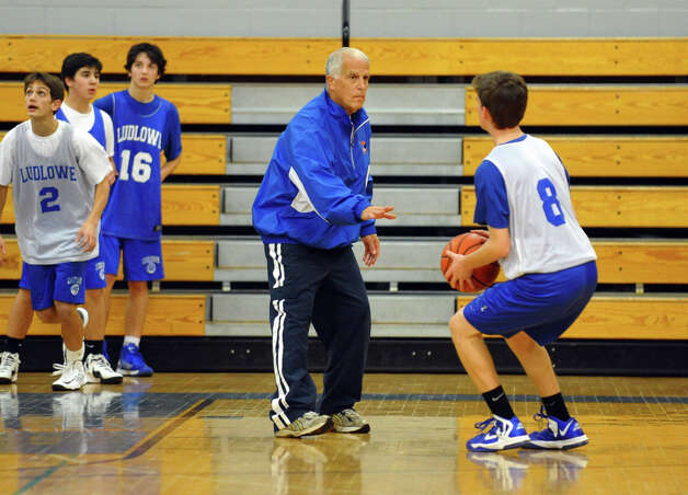 Fairfield Ludlowe Head Coach Brian Silvestro, center, during boys basketball practice in Fairfield, Conn. on Thursday December 6, 2012. Photo: Christian Abraham / Connecticut Post