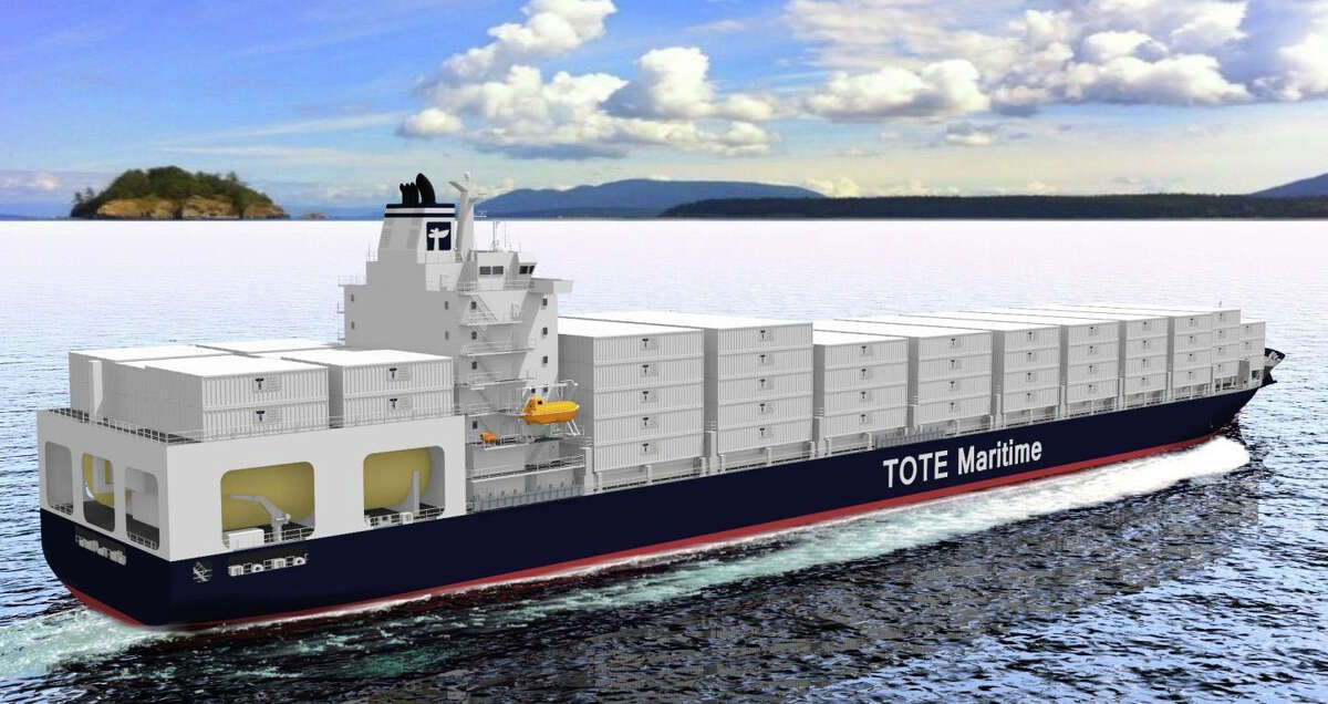An artist's rendering of a 764-foot-long container ship that is expected to be the largest ship in the world primarily powered by liquified natural gas.
