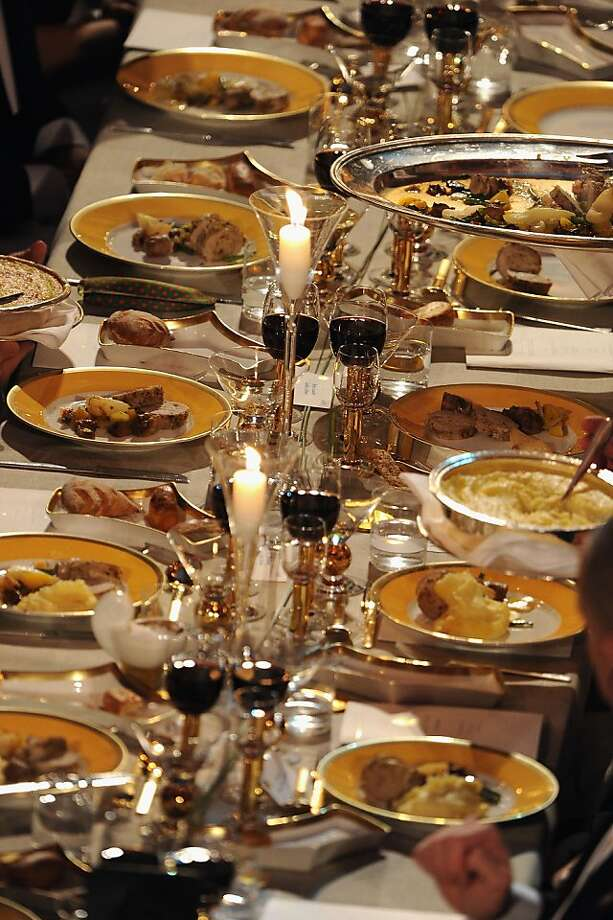 STOCKHOLM, SWEDEN - DECEMBER 10:  View of one of the tables of the Nobel Banquet after the 2012 Nobel Prize Ceremony at Town Hall on December 10, 2012 in Stockholm, Sweden. The European Union has collected this year's prestigious Nobel Peace Prize for uniting the continent after two World Wars, during a ceremony held in Oslo, Norway. Photo: Pascal Le Segretain, Getty Images