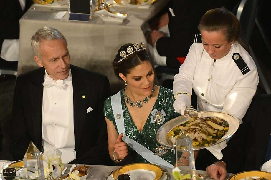 The 2012 Nobel Chemistry Prizewinner US Brian K Kobilka (L) and Princess Victoria of Sweden (R) attend the Nobel Banquet, a traditional dinner after the Nobel Prize awarding ceremony at the Stockholm City Hall, on December 10, 2012, Sweden. The winners of the Nobel Prize 2012 in the categories of medicine, physics, chemistry, literature and economics received their awards from the hands of Sweden's King Carl XVI Gustaf at a formal ceremony, followed by a gala banquet. Photo: Jonathan Nackstrand, AFP/Getty Images