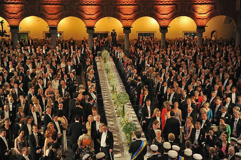 General view of the Nobel Banquet after the 2012 Nobel Peace Prize Ceremony at Town Hall on December 10, 2012 in Stockholm, Sweden. The European Union has collected this year's prestigious Nobel Peace Prize for uniting the continent after two World Wars, during a ceremony held in Oslo, Norway. Photo: Pascal Le Segretain, Getty Images