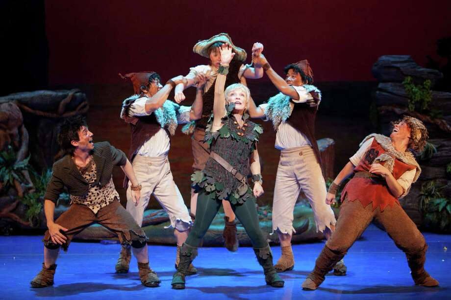 Cathy Rigby and The Lost Boys in Peter Pan.  Photo Credit: Isaac James.