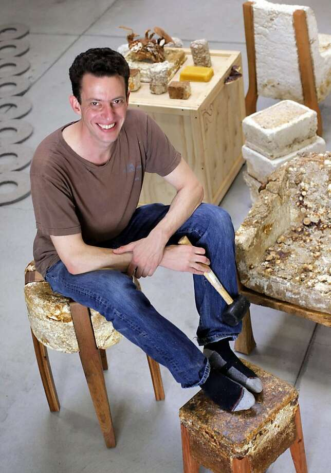 Philip Ross with his mycelium furniture. Photo: Sarah Rice, Special To The Chronicle