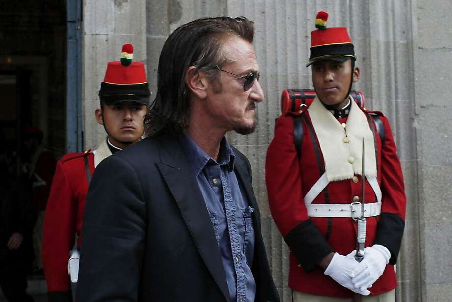 Actor Sean Penn leaves Bolivia's presidential palace after meeting with President Evo Morales in La Paz on behalf of Jacob Ostreicher in October. Photo: Juan Karita, Associated Press