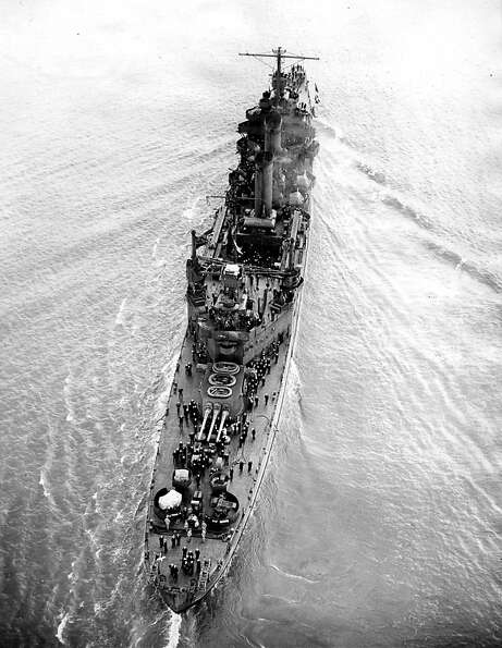 USS San Francisco, moored in Pearl Harbor December 7, 1941, was not hit in the air raid.
