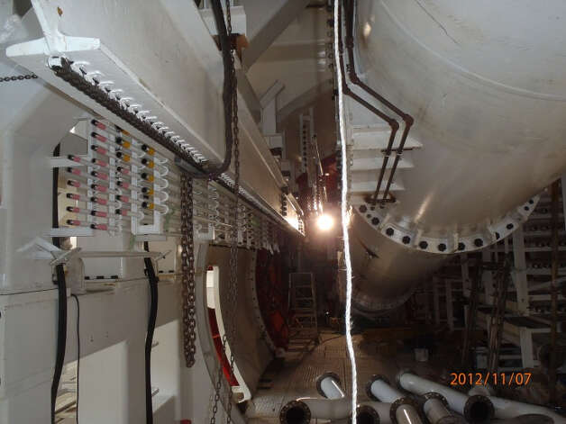 The interior of the the SR 99 tunnel boring machine is shown on Nov. 7, 2012. About 25 crew members will work in the machine at any given time when tunneling begins in Seattle in summer 2013. Photo: Washington State Department Of Transportation