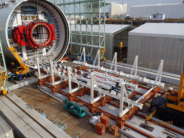The SR 99 tunnel boring machine's trailing gear takes shape in Japan on Oct. 2, 2012. The trailing gear will house the various support systems that crews need to keep the machine operating smoothly as it tunnels under the ground. The machine, including the trailing gear, will be about 326 feet long. Photo: Washington State Department Of Transportation
