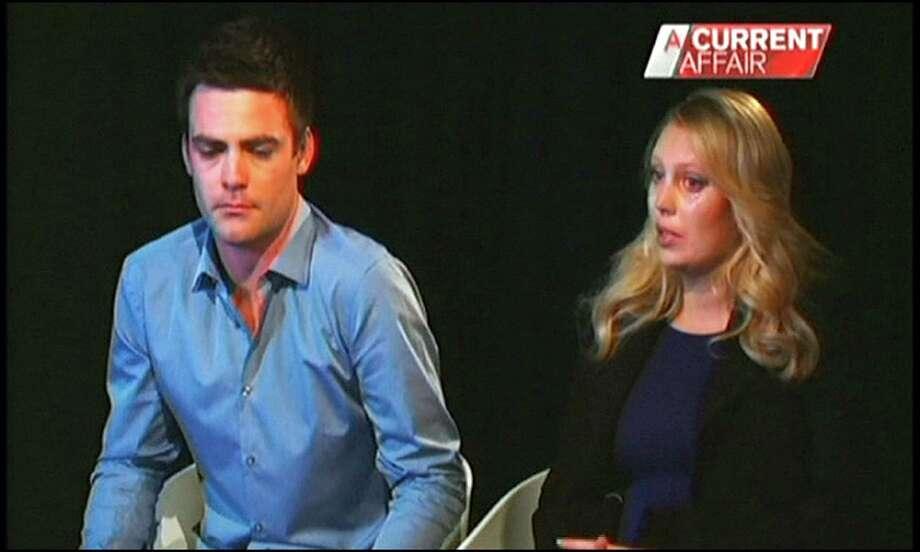 "Radio DJs Michael Christian, left, and Mel Greig apologize Monday on Australia's  ""A Current Affair."" Photo: TEL / Channel Nine"