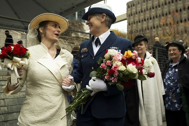 Deborah Needham (left) and Nancy Monahan wed Sunday. Photo: Jordan Stead, SFC