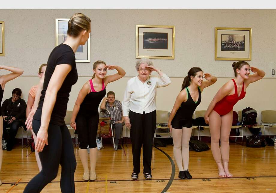 Pauline Clark, an 87-year-old from Clearwater, Fla., was recently granted her lifelong wish to dance with the Rockettes thanks to Wish of a Lifetime and Brookdale Senior Living. Clark is the eldest person to participate in the Rockettes Experience, a half-day workshop for aspiring dancers and Rockettes enthusiasts.  (PRNewsFoto/Brookdale Senior Living) Photo: Associated Press