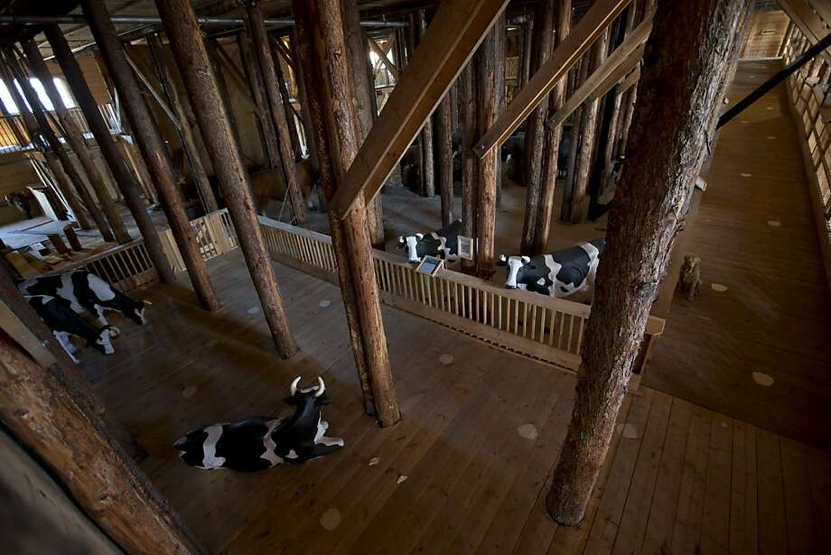 Interior view of the full scale replica of Noah's Ark with life-size replica's of animals which has opened its doors in Dordrecht, Netherlands, Monday Dec. 10, 2012, after receiving permission to receive up to 3,000 visitors per day.  Stormy weather could do nothing to dampen the good mood of its creator, Dutchman Johan Huibers: in fact, the rain was appropriate. For those who don't know or remember the Biblical story, God ordered Noah to build a boat massive enough to save animals and humanity while God destroyed the rest of the earth in an enormous flood.(AP Photo/Peter Dejong) Photo: Peter Dejong, Associated Press