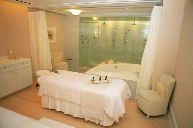 "One of the relaxation rooms at the Mayflower Inn & Spa features a ""Deep Blue Lavender Embrace"" experience. Photo: Trish Haldin / The News-Times Freelance"