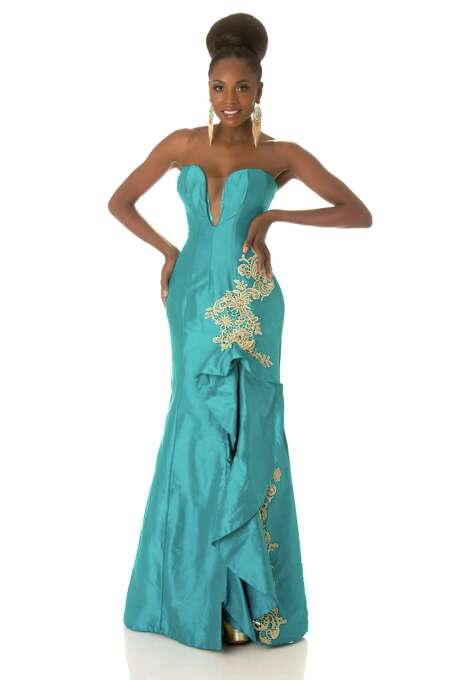 Miss Angola 2012, Marcelina Vahekeni, poses in her evening gown. Leila Lopes, the current Miss Universe, became the first woman from Angola to win the crown, taking it in Brazil on Sept. 12, 2011. Photo: Matt Brown, Miss Universe Organization / Miss Universe Organization