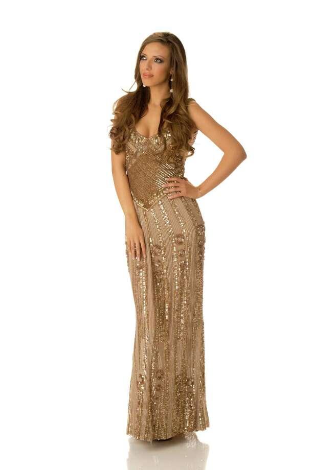 Miss Bulgaria 2012, Zhana Yaneva, poses in her evening gown. Photo: Matt Brown, Miss Universe Organization / Miss Universe Organization