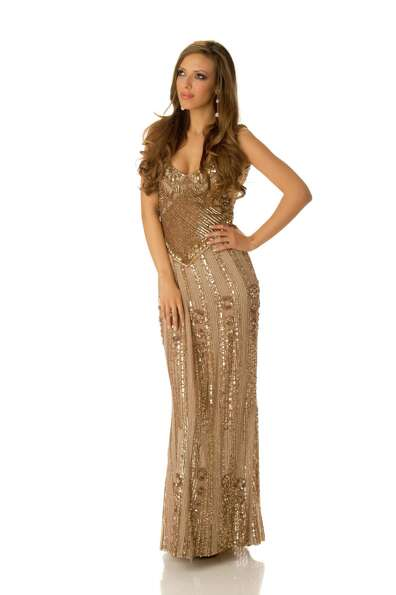 Miss Bulgaria 2012, Zhana Yaneva, poses in her evening gown.
