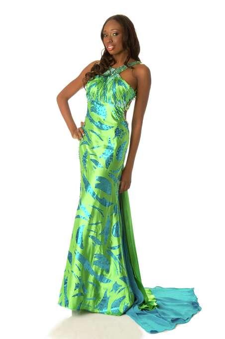 Miss British Virgin Islands 2012, Abigail Hyndman, poses in her evening gown. Photo: Matt Brown, Miss Universe Organization / Miss Universe Organization