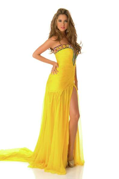 Miss Colombia 2012, Daniella Álvarez Vasquez, poses in her evening gown.