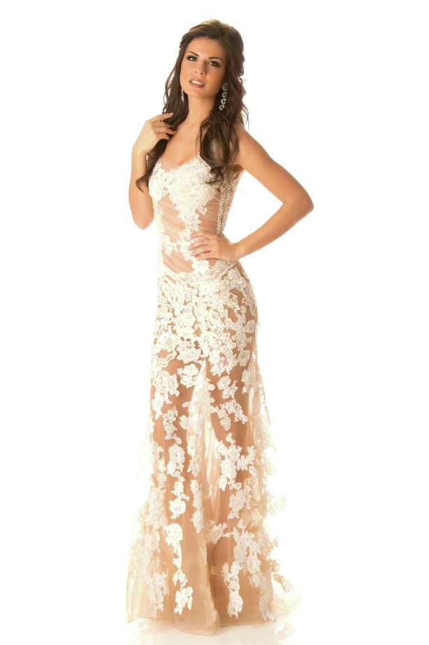 Miss Greece 2012, Vasiliki Tsirogianni, poses in her evening gown. Photo: Matt Brown, Miss Universe Organization / Miss Universe Organization