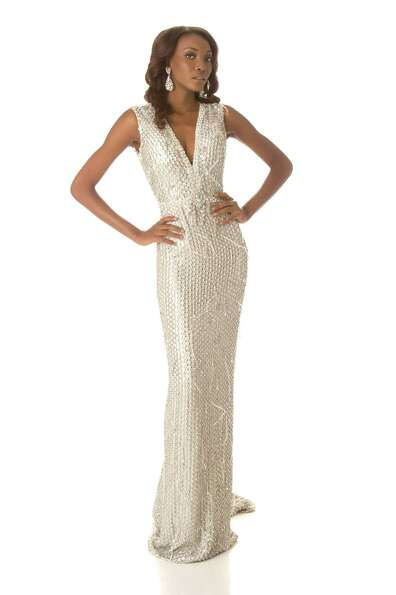 Miss Haiti 2012, Christela Jacques, poses in her evening gown.