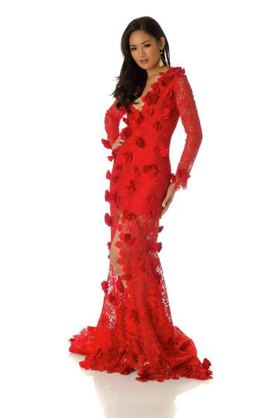 Miss Indonesia 2012, Maria Selena, poses in her evening gown.