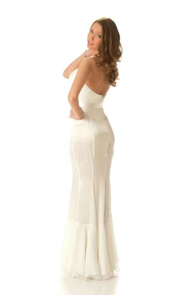 Miss Lithuania 2012, Greta Mikalauskyte, poses in her evening gown.