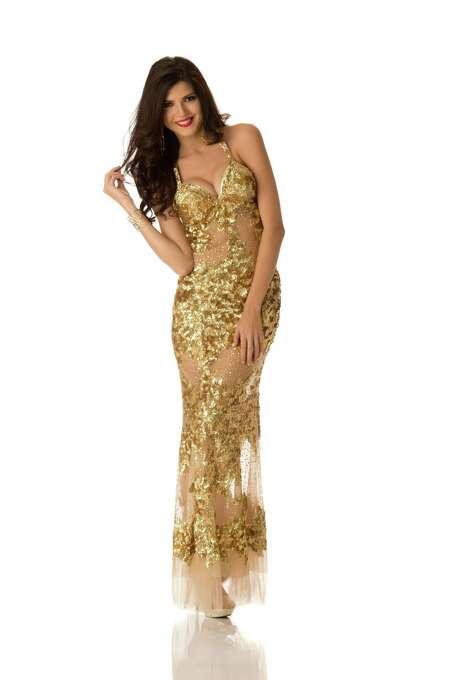 Miss Peru 2012, Nicole Faveron, poses in her evening gown. Photo: Matt Brown, Miss Universe Organization / Miss Universe Organization