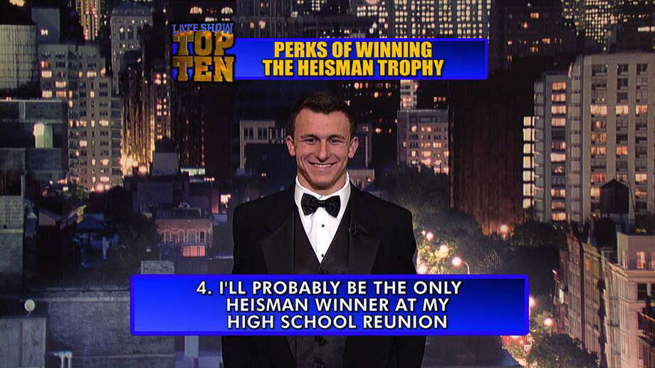 Texas A&M quarterback Johnny Manziel appears on the Late Show with David Letterman to introduce the Top Ten Perks of Winning The Heisman.
