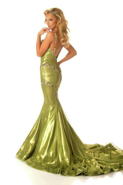 Miss South Africa 2012, Melinda Bam, poses in her evening gown.