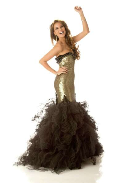Miss Spain 2012, Andrea Huisgen, poses in her evening gown.