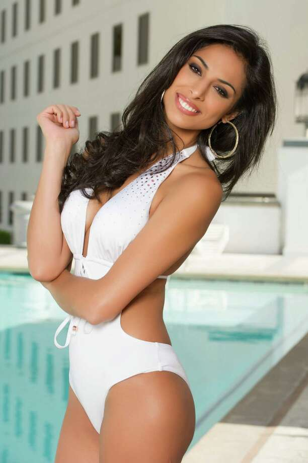 Miss Argentina 2012, Camilla Solórzano, poses for photos in swimwear by Kooey Australia. Photo: Darren Decker, Miss Universe Organization / Miss Universe Organization